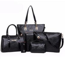 6 Bags Crocodile Pattern Women Bag Stone Women Handbag Pu Leather Shoulder Bag Women Messenger Bags Lady Day Clutch Tote Bolsas(China (Mainland))