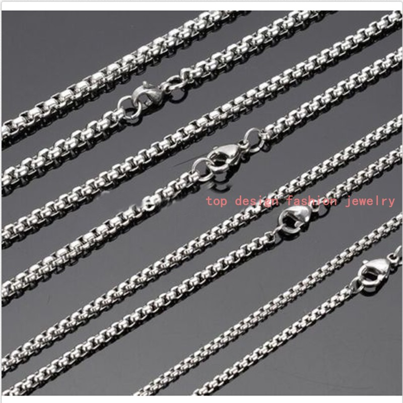 "1/2/3/5mm Charming Hot 316L Stainless Steel Silver Rolo Box Chain 5/10pcs Mens Women Necklace Fashion DIY Jewelry Finding 16-40""(China (Mainland))"