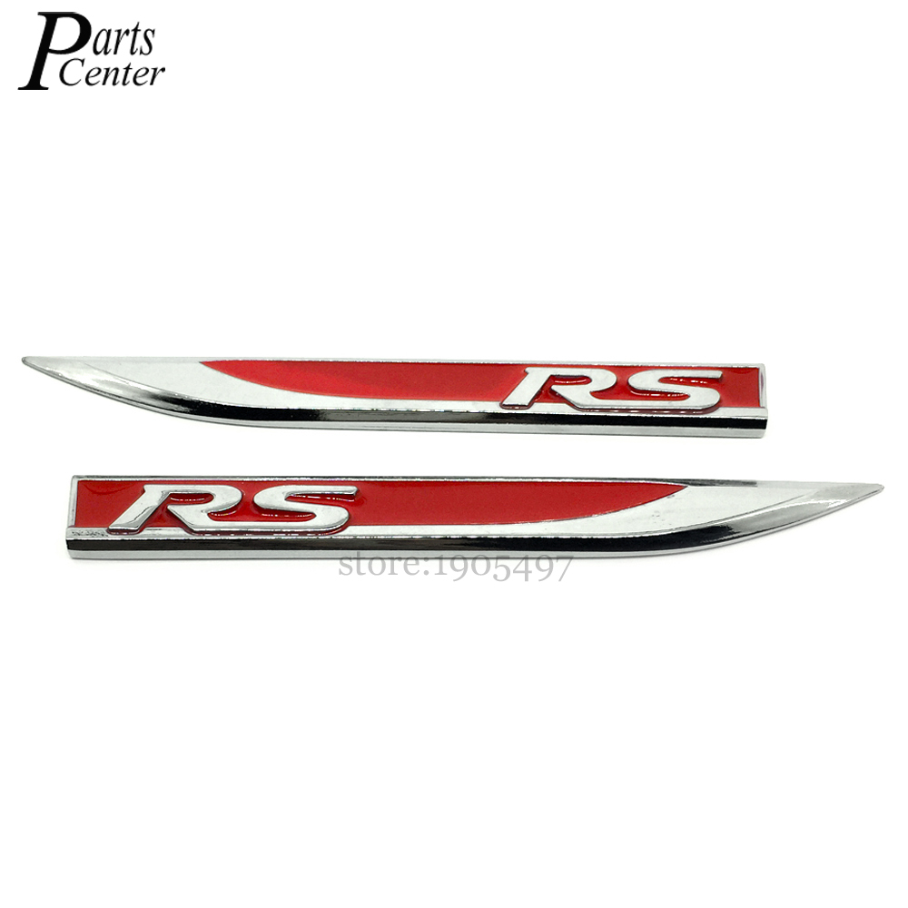 2Pcs Car Styling Emblem Decal Sticker Fender Side Metal Stickers RS Logo RS5 RS6 For Audi RS A3 A4 A6 A7 A8 Q5 TT R8(China (Mainland))