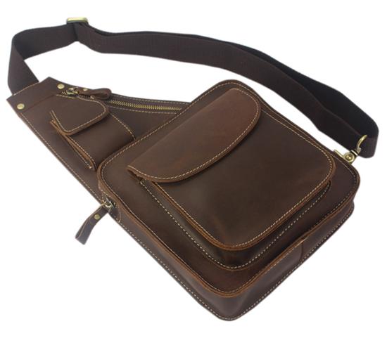 Vintage Retro Crazy Horse Leather Men's Messenger Bag Crossbody Bag Genuine Leather Shoulder Bag for Men Casual Bag Brown M052#(China (Mainland))