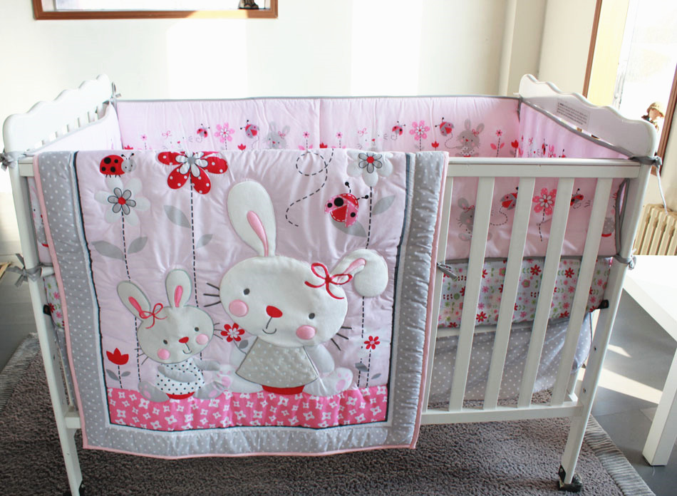 Promotion! 7PCS Embroidery Baby bedding kit cot bedding set piece baby bed around ,include(bumper+duvet+bed cover+bed skirt)<br><br>Aliexpress