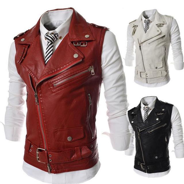 Leather Motorcycle Vest Harley Mens Waistcoat Steampunk