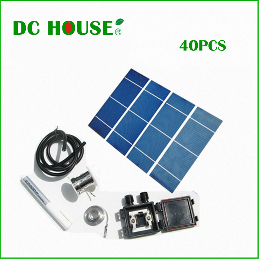 40PCS High power 2X6 solar cells +flux+tab wire+bus wire +junction box+free shipping(China (Mainland))
