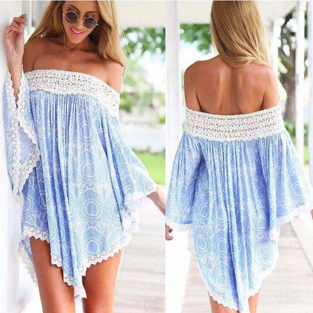 Summer Bohemian Dress Women Pattern Printed Vintage Beach Mini One piece Party Tee Dress Lady's One-piece WOS023(China (Mainland))