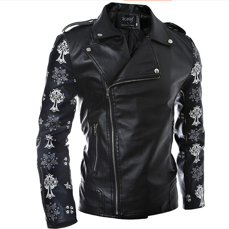 Men Oblique Zipper Jacket Coats Brand Design PU Leather Short Slim Fit Fashion Outdoor New Arrial Motorcycle F1820