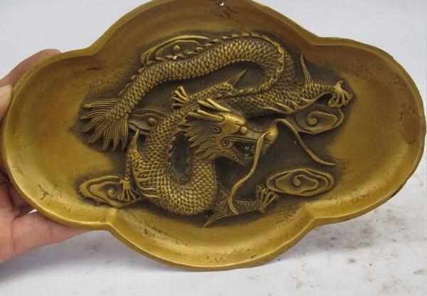 SCY 1115+++China Royal Palace Bronze Copper Dragon Decor Dynasty Salver Tray Dish Plate(China (Mainland))