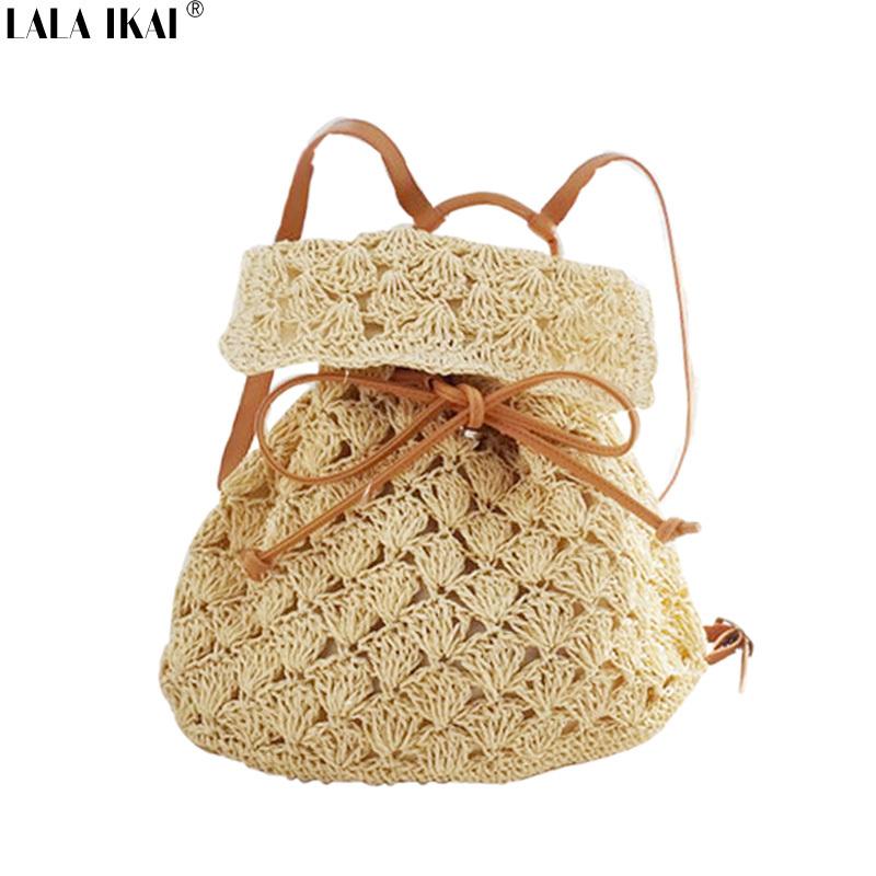 LALA IKAI Summer Bohemia Style Women Backpack Quality Straw Designer Backpacks Beach Women Bag School Bags Ladies BWE0115-5(China (Mainland))