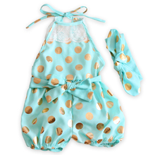 baby romper  newborn sky blue  lace baby clothes christmas style gold dot  baby rompers with headband