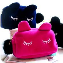 Venda quente Mulheres Bolsa de Cosméticos Sacos de Maquiagem Organizador Bags Embreagens Carteiras das Mulheres de Alta Qualidade de Viagem Ao Ar Livre Sacos de Gato Bonito saco