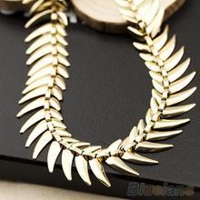 Women s Fashion Golden Alloy Fish Bone Charm Choker Collar Necklace Jewelry 1N8E