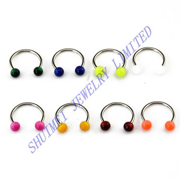 SHUIMEI 160Pcs Opal Acrylic Ball 316L Steel Labret Lip Eyebrow Nose Septum Horseshoe Circular Ring Piercing Body Jewelry 14G/16G