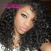 indian curly virgin hair with closure 4 bundles kinky curly hair with closure curly weave human hair with closure Hair Style(China (Mainland))