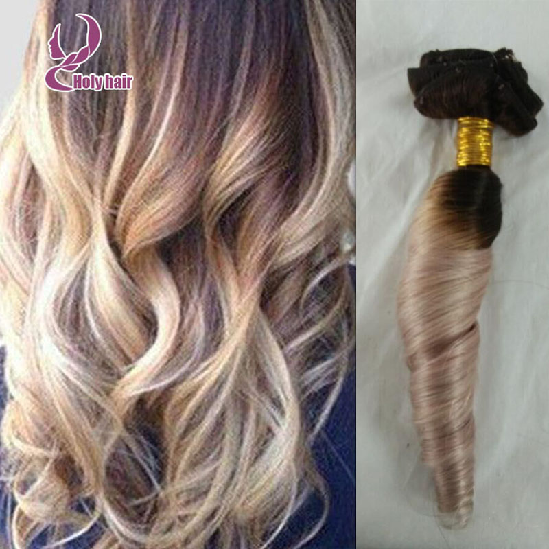 Curly blond ombre clip ins hair extension 100% virgin remy human clip in hair 100g 7Pcs/set two tone extension free shipping