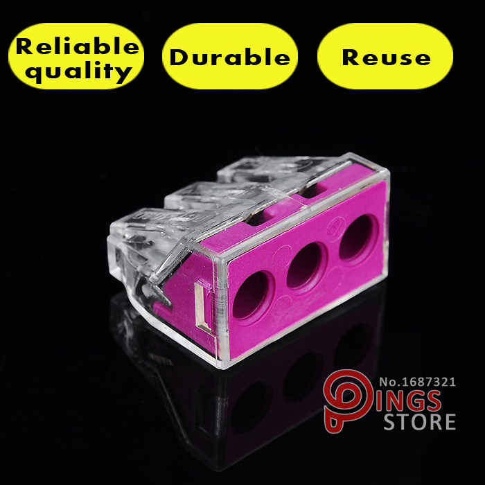 (50 PCS) PCT-103D(WAGO 773-173) Push wire connector For Junction box 3 pin conductor terminal block<br><br>Aliexpress