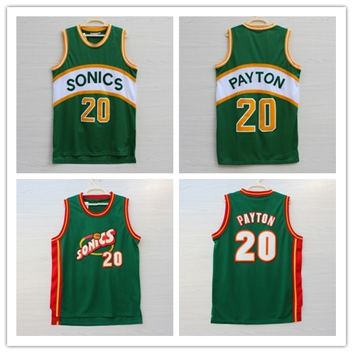 20 Gary Payton Seattle Supersonics Jersey Sonics Retro Vintage Stitched 2015 Mesh Green The Glove Throwback Basketball Jerseys(China (Mainland))