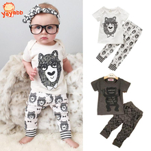 2016 Fashion Little Monsters Baby Boy Clothes Spring Summer Style Baby Girl Clothing Sets 2pcs Short Sleeve Infant Girl Clothes(China (Mainland))
