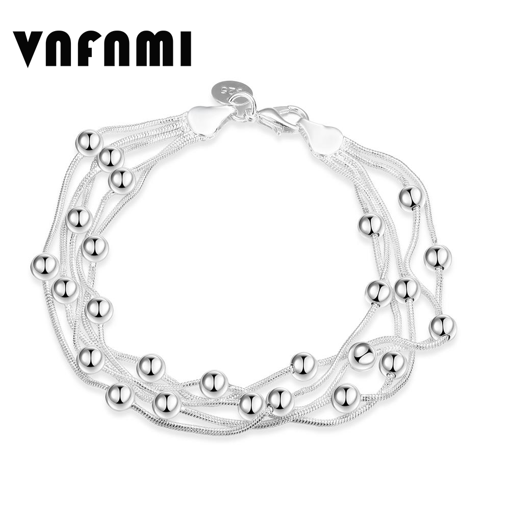 VNFNMI Trendy Accessories Silver Bracelet 20CM Beads Bracelet Ball Snake Chain Bracelet for Women Simple Fashion Jewelry Gifts(China (Mainland))