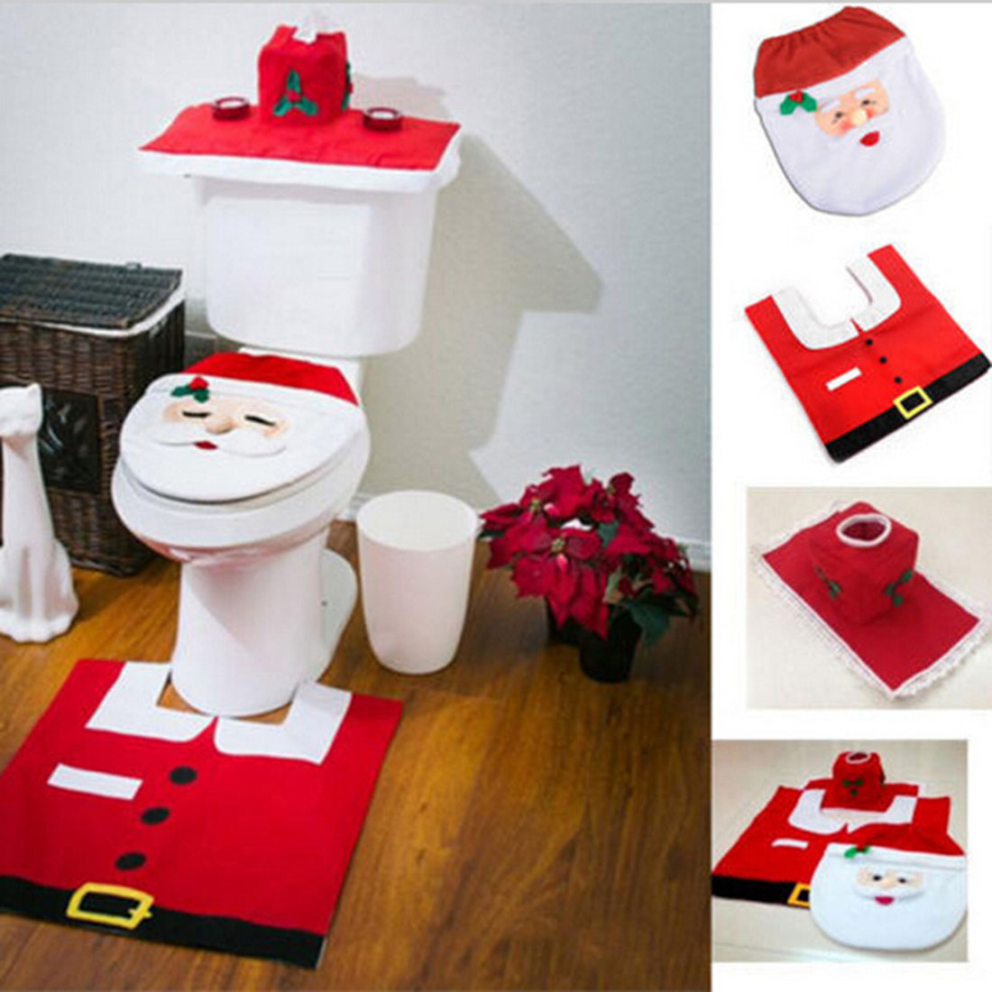 big sale 3pc set christmas santa claus bathroom toilet seats cover christmas decoration in. Black Bedroom Furniture Sets. Home Design Ideas