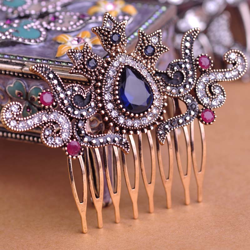 Bulk Sale 40% Off Women Hair Combs Accessories Vintage Blue Crown Jewelry Turkish Design Metal Hairwear For Party Can Mix Color(China (Mainland))