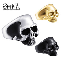 Beier 316l кольцо из нержавеющей стали череп байкер кольцо серебро/золото/черный цвет мужская мода ювелирные изделия br8-323(China (Mainland))