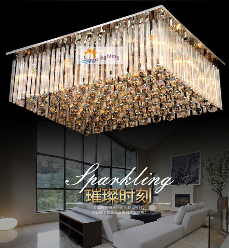 Buy Modern Big Luxury Crystal Ceiling Lamps Hotel Villa Hang