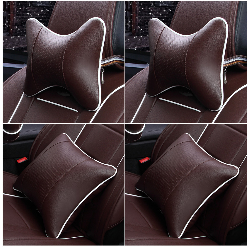Фотография Leather car head pillow neck four sets of new vehicles with a waist
