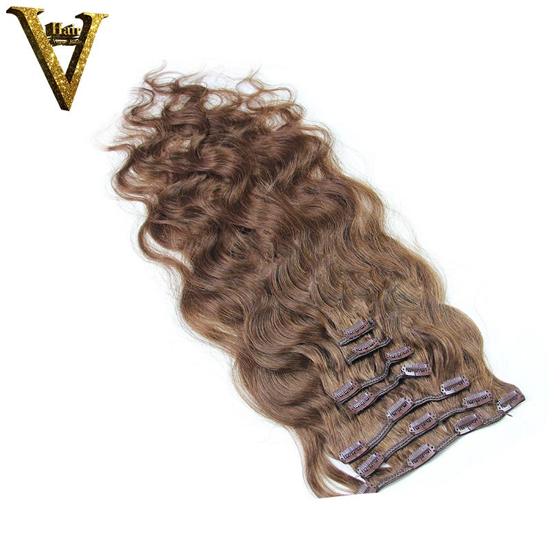 Body Wave Clip In Hair Extensions Brazilian Hair Chestnut Light Brown #6 Human Hair 7 Pieces Set Full Head