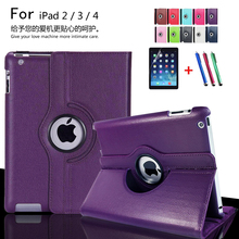 for Apple ipad 2 ipad 3 ipad 4 Tablet Case 360 Degree Rotating PU Leather Stand Flip Folio Screen Protector Cover + film + Pen(China (Mainland))