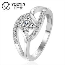 2015 Luxury flower design Silver plated ring for ladyR142
