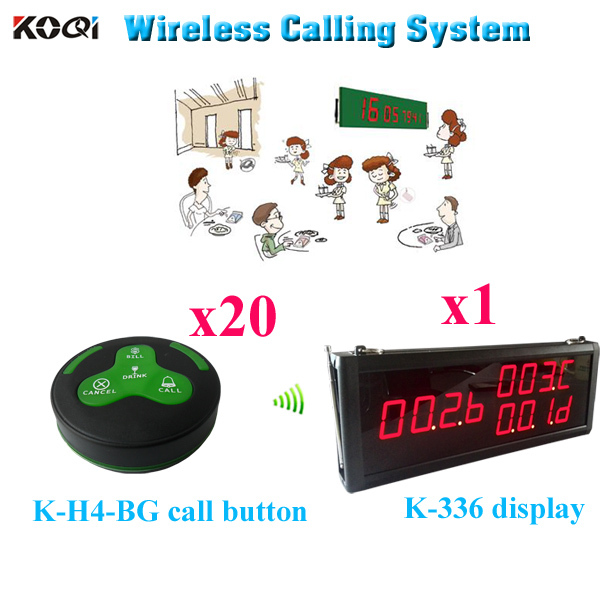 Restaurant Call System Star King Pager With 100% Waterproof Call Button (1 display 20 call button)(China (Mainland))