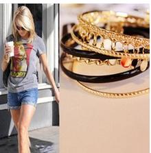 TT-09 Fashion Jewelry For Women Style Mashups Paillette Pendant Multiple 6 pieces Bracelet Sets Free Shipping(China (Mainland))