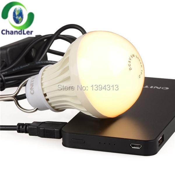 100pcs Charging light LED rechargeable light bulb Outdoor emergency lighting 5W USB Blackout emergency usb mobile power light(China (Mainland))