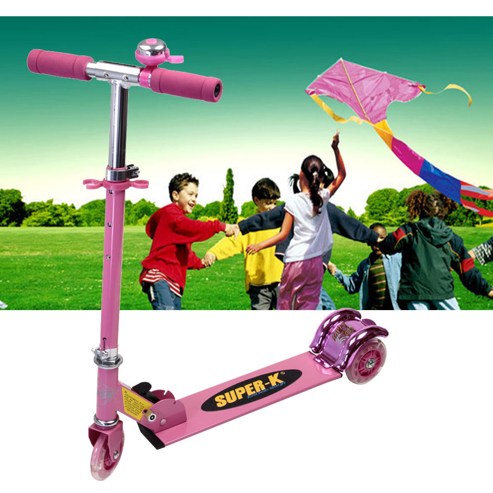 Foldable & Adjustable Three PVC Wheels Kick Scooters For Kids Load-Bearing Weight 40 KG Safety Foot Scooter For Kids's Xmas Gift(China (Mainland))