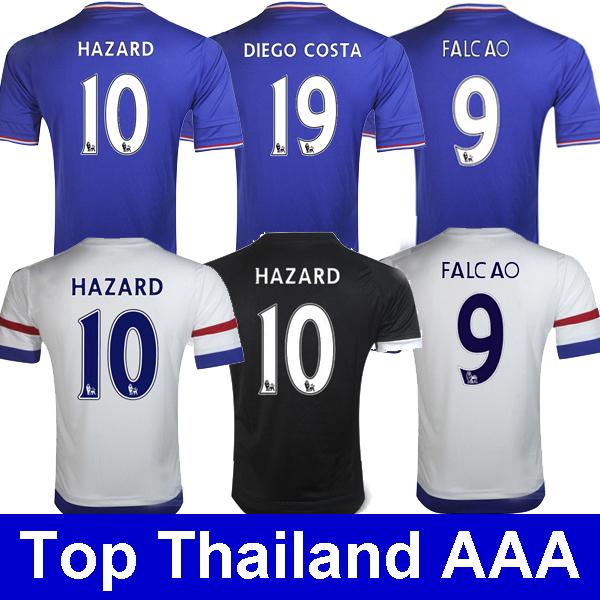 Thailand Hazard Falcao soccer jerseys Blue Chelsea 2016 Diego costa Cuadrado Chelsea jersey 15 16 camisetas de futebol maillot(China (Mainland))
