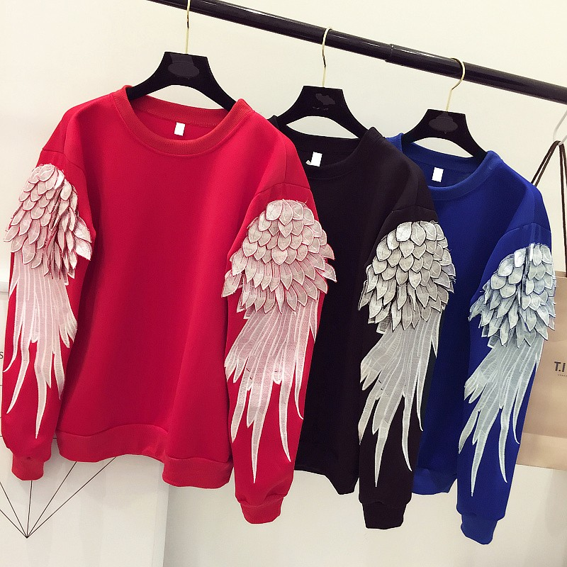 OTH001 USA wind heavy feather wings embroidered long sleeved turtleneck loose woman pullovers/women hoodies shirts