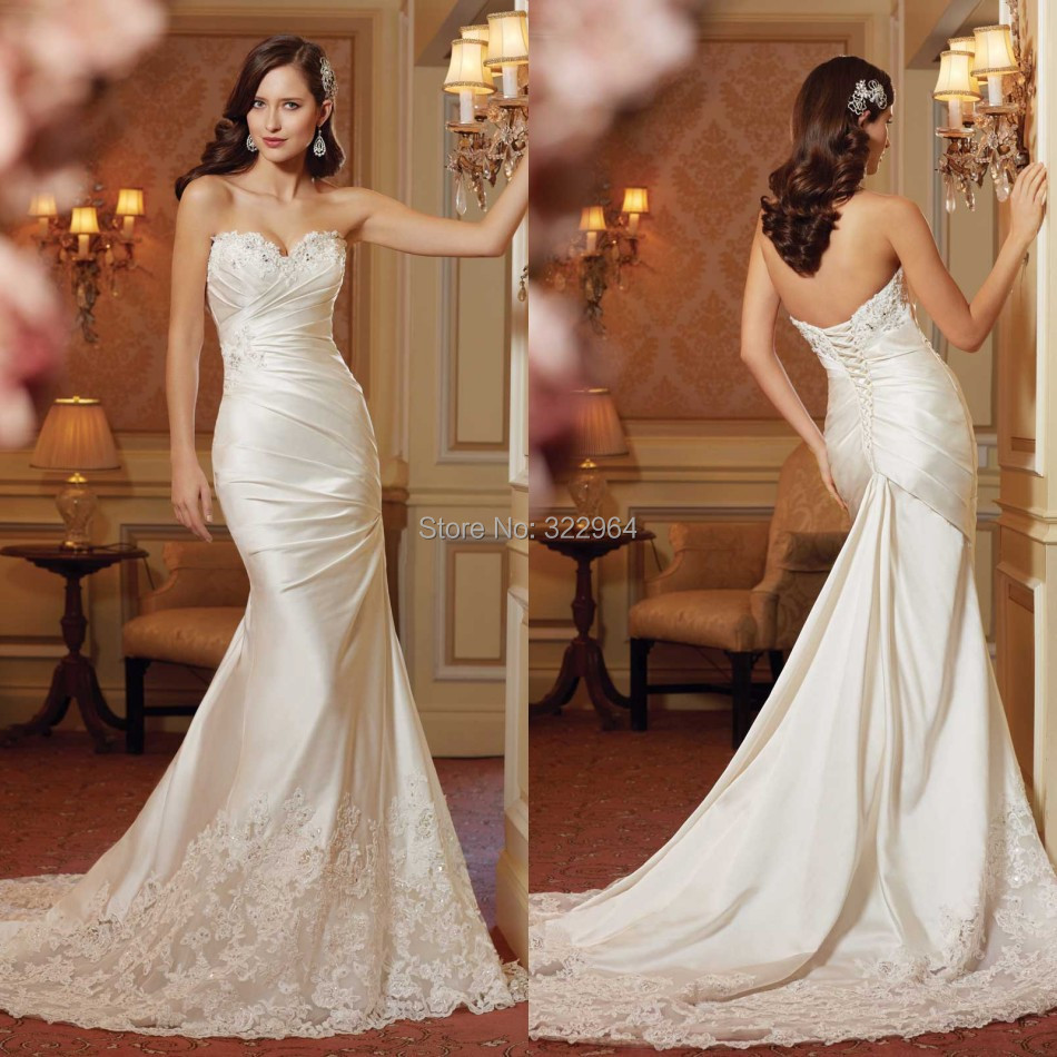 New arrival sweetheart satin mermaid wedding dress 2015 for Satin sweetheart mermaid wedding dress