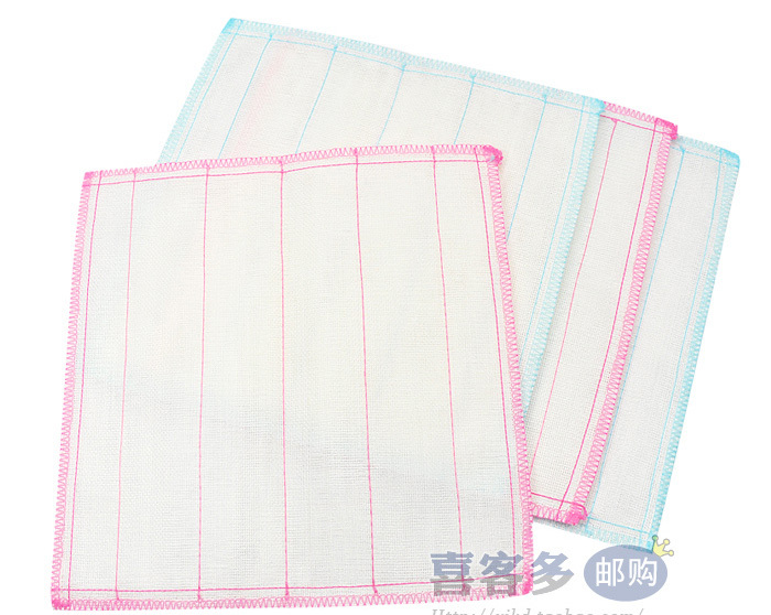Kitchen Pink Stripes Pattern White Dish Bowl Hand Cleaning Cloth Towel(China