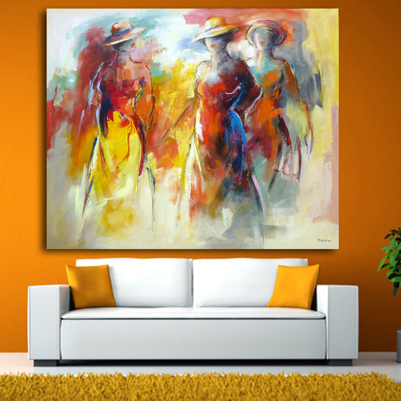 World famous paintings Wearing a hat abstract painting Woman playing the guitar printed oil painting on canvas Wall art picture(China (Mainland))