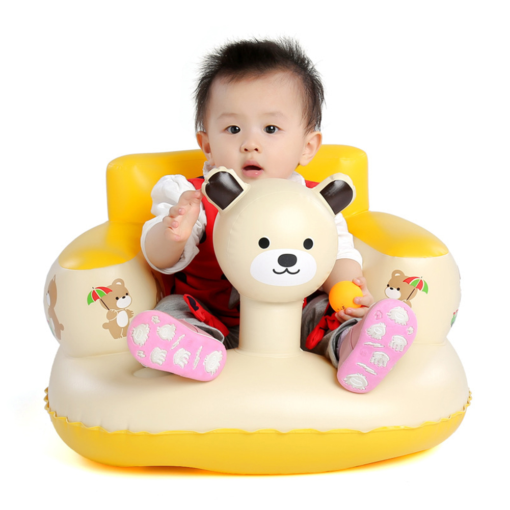 Inflatable Baby Chair Portable Newborns Sofa Infant Kids Dining Chair Lovely Panda Head Beige Travel Beach Outdoor Sofa Chair(China (Mainland))