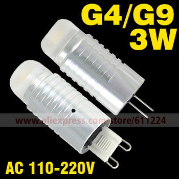 3W Beads Bright G4/G9 Base Warm white/white High Power Crystal Hanging Lamp LED Lamp Energy Saving Corn Light  Free Shipping