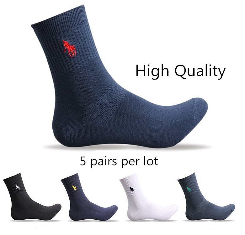 5 Pairs High Quality brand POLO solid color men's sock Casual Sport Business Fashion socks embroidery Free Shipping