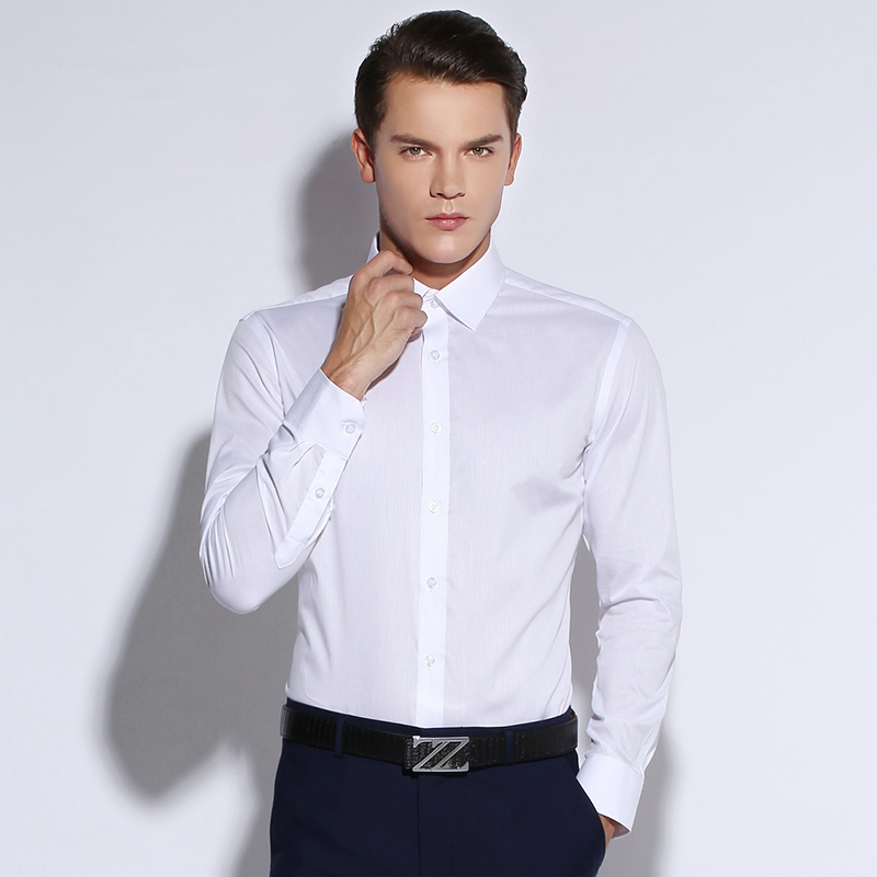 2015 new mens slim fit solid color white long sleeve dress