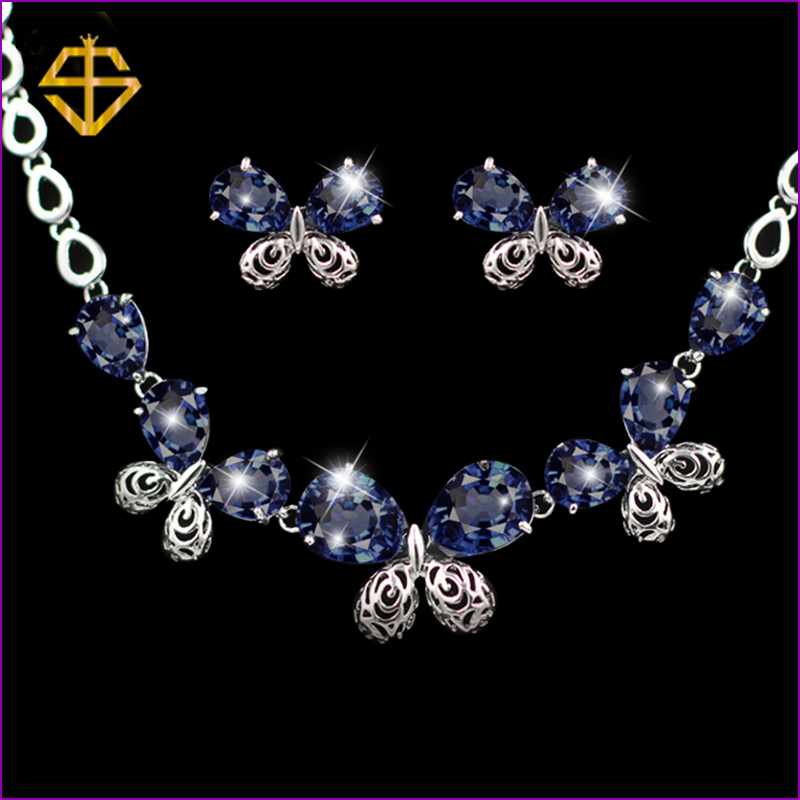 SI Sparkly Butterfly Blue Sapphire White Topaz Silver Earrings Pendant Necklace Free Gift Bag Fashion Jewelry Sets  -  Co.,Ltd store