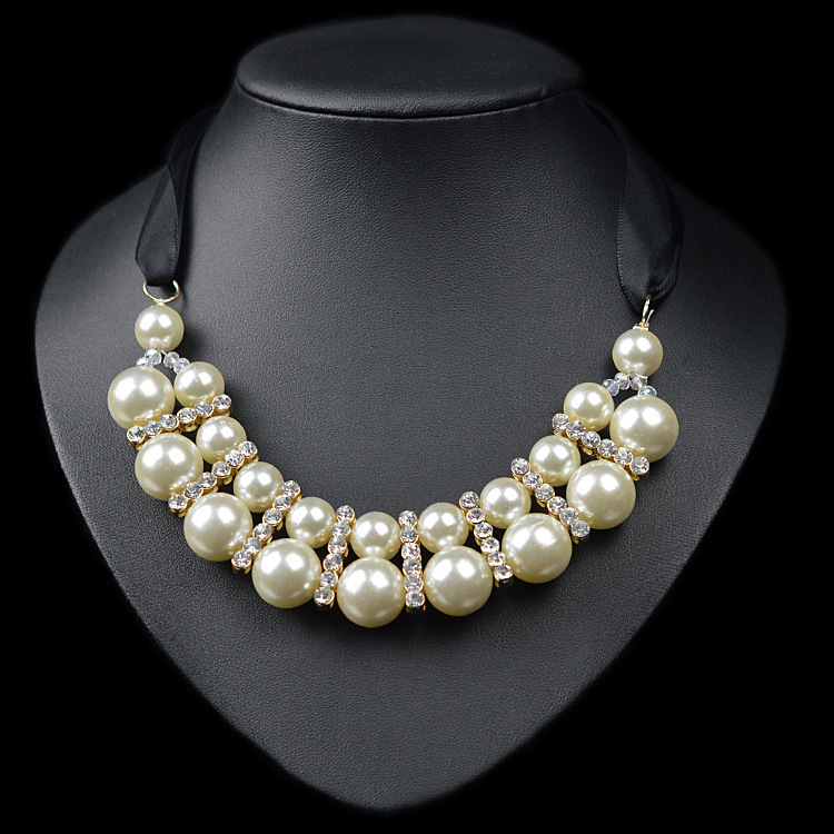 Fashion ol double layers pearl necklace 2015 femme for Costume jewelry for evening gowns