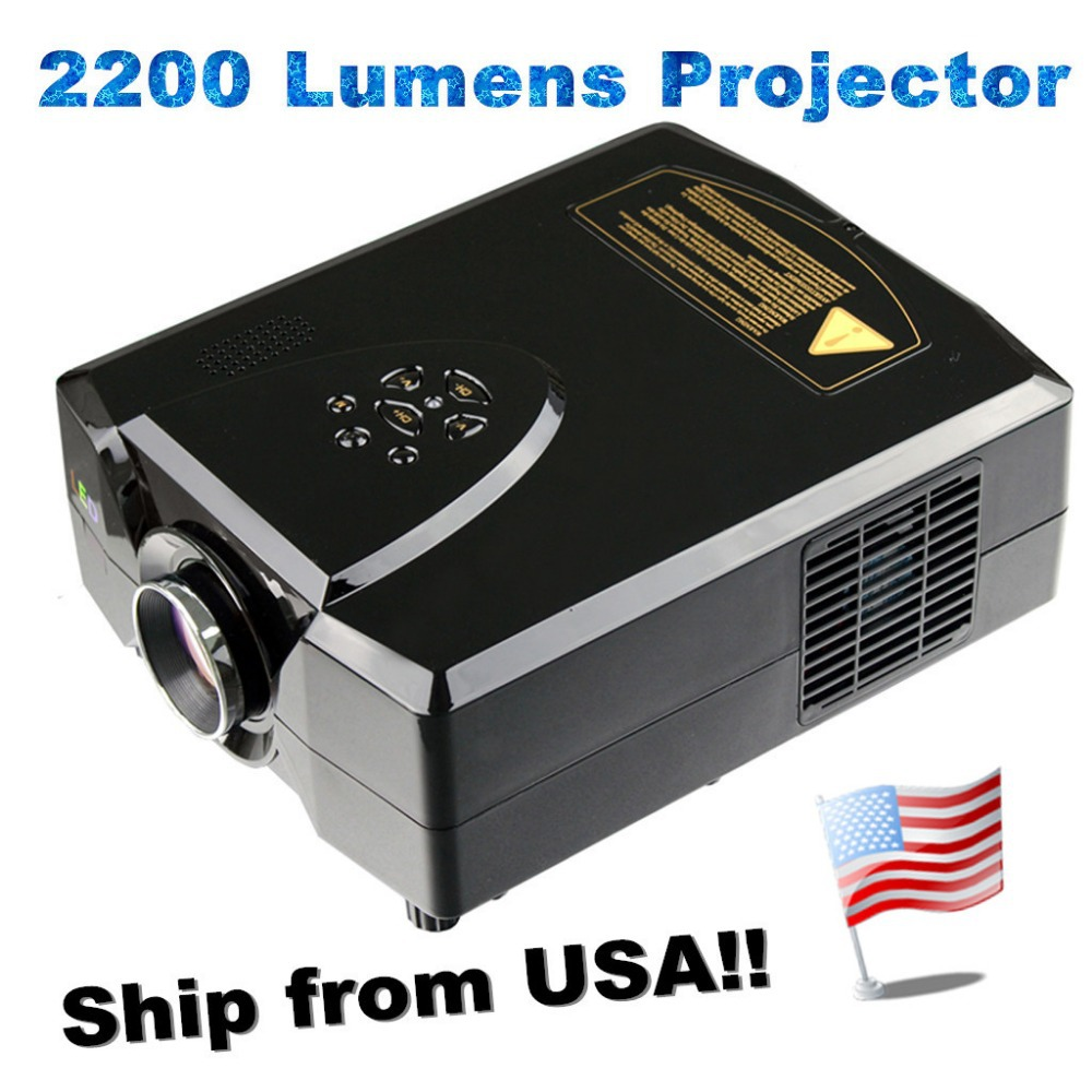 Ship from USA! CL312A 2200 lumens HDMI USB VGA AV TV HD LED Projector Home Theater US Standard Black(China (Mainland))