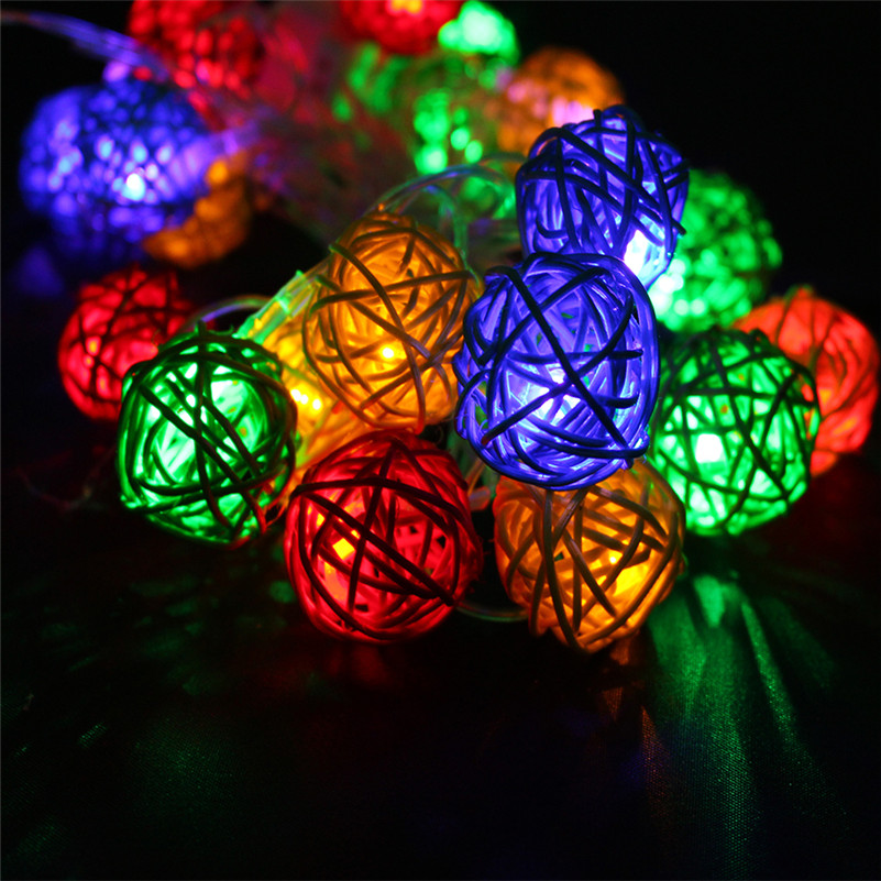 8 Modes 3M 20Leds 4cm Big Rattan Ball Colorful/Warm White/White LED String Christmas Lights Garlands For Holiday Wedding Party<br><br>Aliexpress