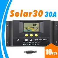 10PCS 30A Solar Controller PV panel Battery Charge Controller 12V 24V Solar system Home indoor use SOLAR30 SOLAR 30