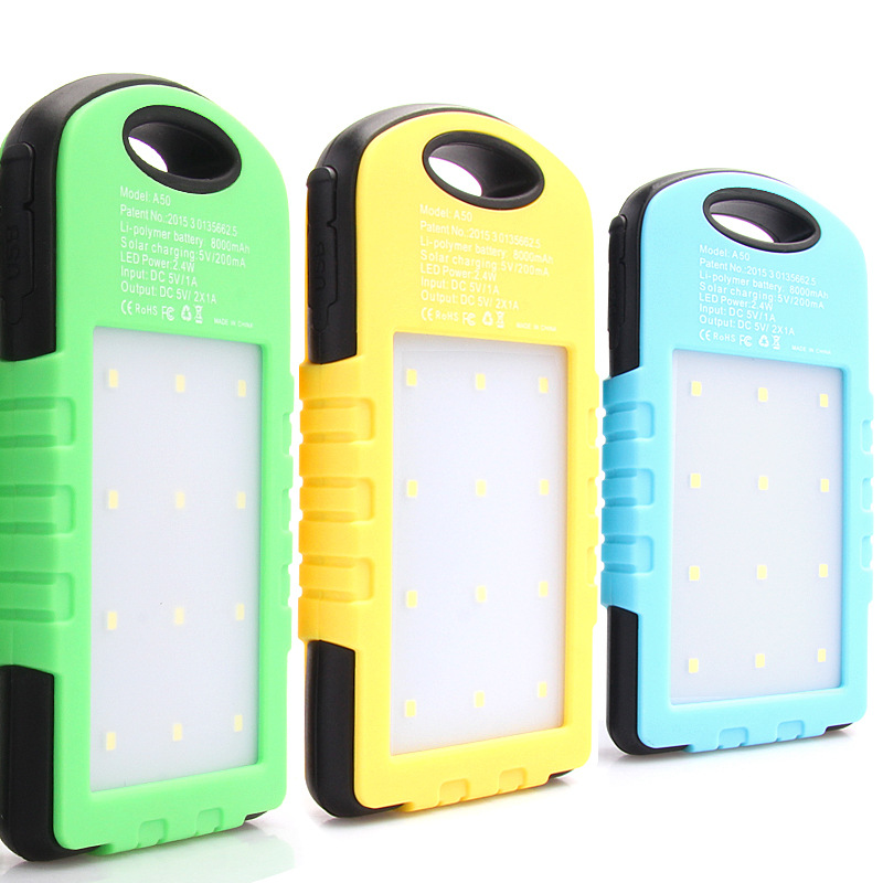 A50 Waterproof Solar Charger Power Bank With Light 8000