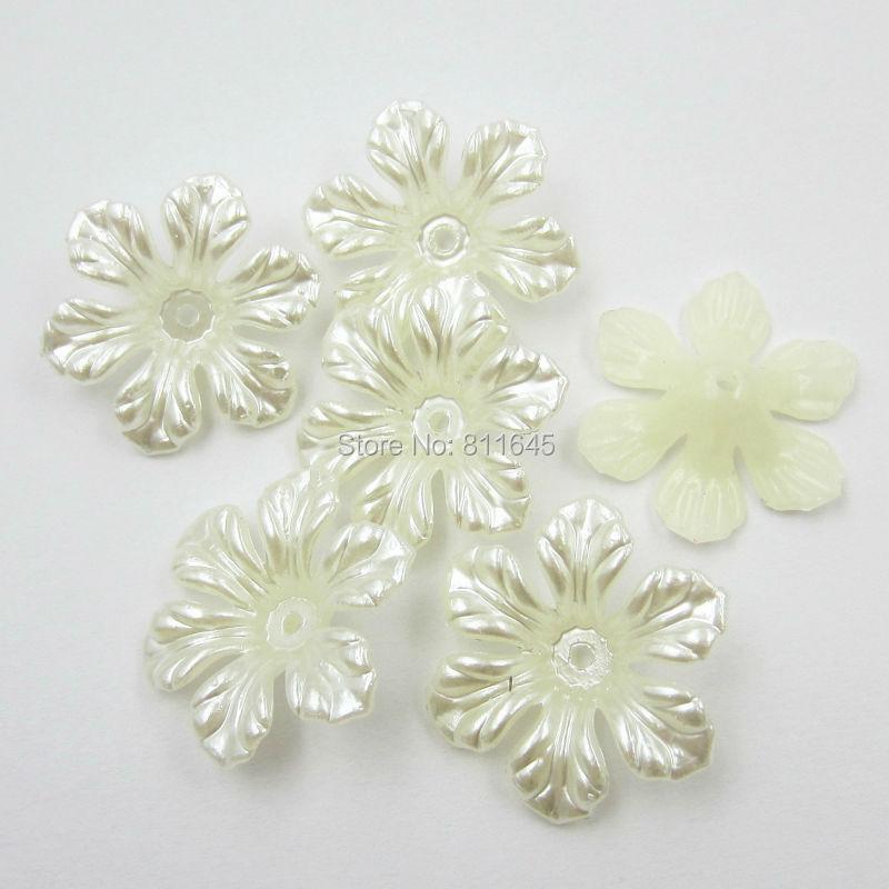 Free shipping new 26mm 12pcs/lot beautiful flower shape craft flatback imitation pearl beads white Ivory(China (Mainland))