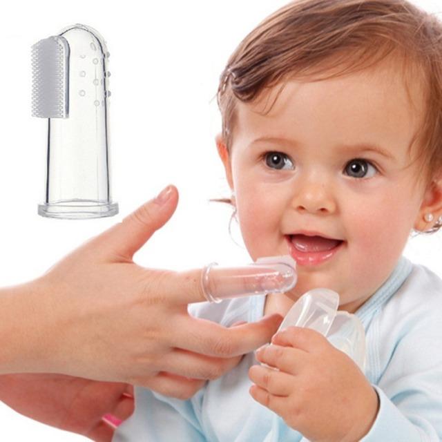 Мода ребенок дети зубы прозрачный массаж мягкие силиконовые ребенка пальцем зубная ...